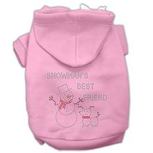 Snowman's Best Friend Rhinestone Dog Hoodie - Light Pink