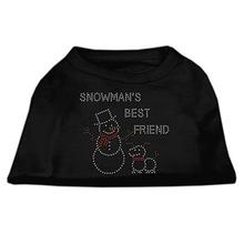 Snowman's Best Friend Rhinestone Dog Shirt - Black
