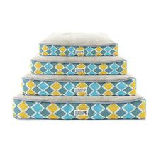 Soft N' Tuff Rectangular Pet Crate Bed - Blue, Gray, Yellow Diamond