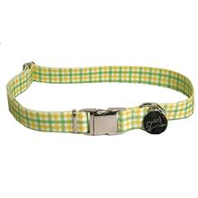 Southern Dawg Gingham Dog Collar by Yellow Dog - Yellow and Green