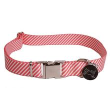 Southern Dawg Seersucker Dog Collar by Yellow Dog - Red