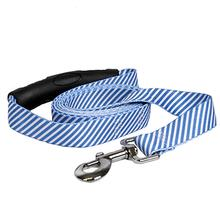 Southern Dawg Seersucker EZ-Grip Dog Leash by Yellow Dog - Navy Blue