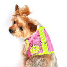 Spotted Frog Mesh Dog Harness - Green and Pink