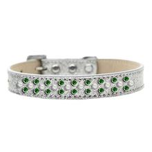 Sprinkles Ice Cream Dog Collar - Pearl and Green Crystals on Silver