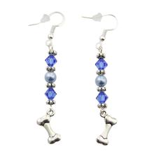 Sterling Bones Earrings - Blue Swarovski Crystals