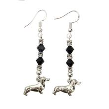 Sterling Dachshund Earrings - Black Swarovski Crystals