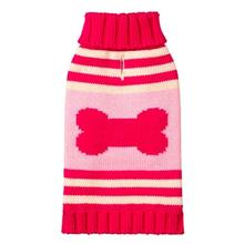 Striped Bone Turtleneck Dog Sweater by fabdog® - Pink