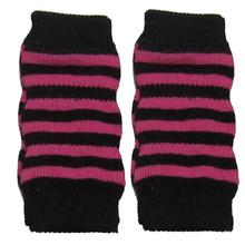 Striped Dog Leg Warmers - Pink and Black