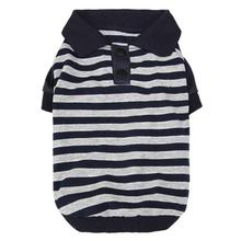 Striped Dog Polo by Parisian Pet - Navy and Gray