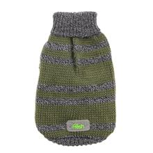 Striped Mock Neck Dog Sweater by Go Fresh Pet - Hunter Green