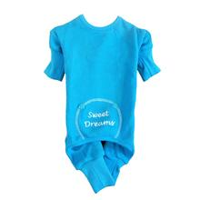 Sweet Dreams Embroidered Dog Pajamas - Blue