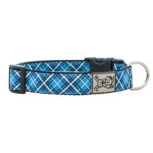 Tartan Adjustable Clip Dog Collar by RC Pet - Blue