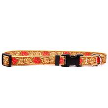 Tooled Leather Rose Red Polyester Dog Collar by Yellow Dog