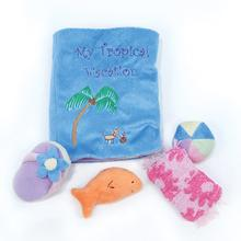 Tropical Vacation Book Dog Toy by Oscar Newman