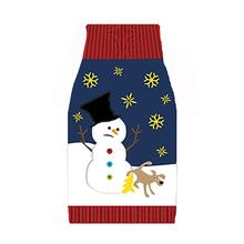 Ugly Holiday Dog Sweater - Snowman and Dog Navy Blue