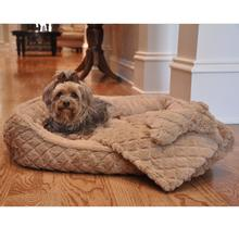 Ultra Soft Beige Faux Fur Plush Diamond Quilt Dog Bed with Bone and Blanket