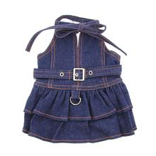 V-Neck Denim Dog Dress with Neck Strap by Klippo