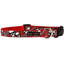 WaLk-e-Woo Skulls n' Roses Dog Collar - Red