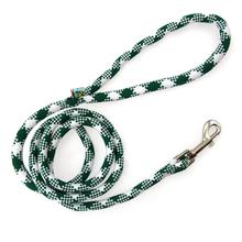 White Plaid Braided Dog Leash by Yellow Dog - Kelly Green