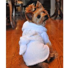 White Silver Tiara Cotton Dog Bathrobe