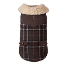 Wool Plaid Shearling Dog Jacket - Olive