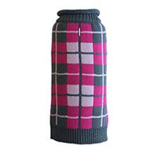 Worthy Dog Oxford Plaid Dog Sweater - Pink