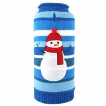 Worthy Dog Snowman Stripe Dog Sweater - Blue