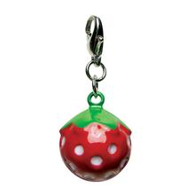 Yummy Strawberry Metal Jingle Bell Dog Collar Charm by Klippo