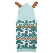 Zack and Zoey Elements Antler Dog Sweater - Teal