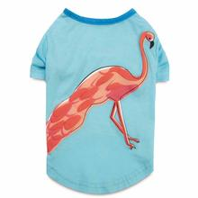 Zack and Zoey Flamingo Dog T-Shirt - Blue