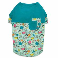 Zack and Zoey Sun and Sea Patchwork Dog T-Shirt with UPF 40 - Teal