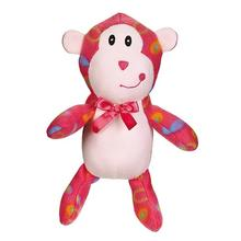 Zanies Fleece Cuddlers Dog Toy - Pink Monkey