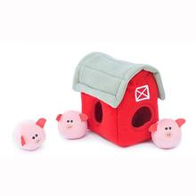 ZippyPaws Burrow Dog Toy - Pig Barn with Bubble Babiez
